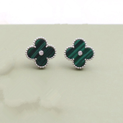 Sweet van cleef faux Alhambra or blanc boucles d'oreilles diamants ronds malachite