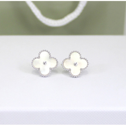 Sweet van cleef faux Alhambra or blanc boucles d'oreilles diamants ronds