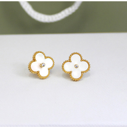 Sweet van cleef copie Alhambra or jaune boucles d'oreilles diamants ronds blancs en nacre blanche
