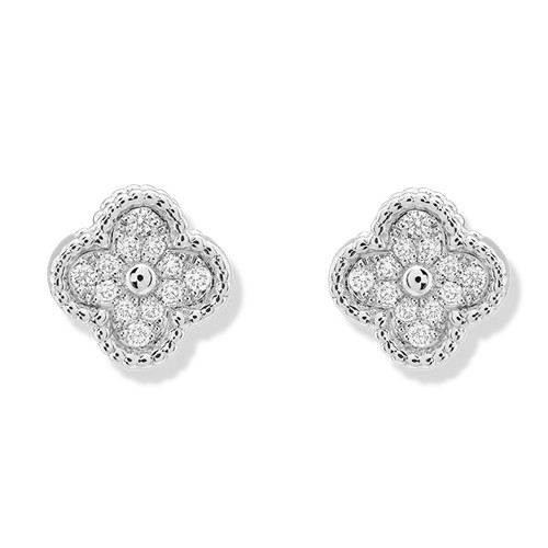 Sweet replique Van Cleef & Arpels Alhambra or blanc boucles d'oreilles diamants ronds
