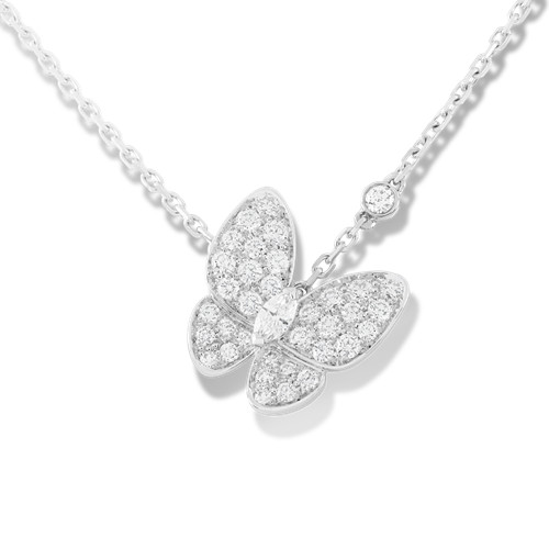 replique Van Cleef & Arpels Papillon pendentif or blanc Diamants ronds et diamants marquise coupées