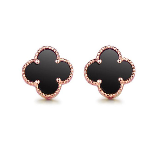 Vintage van cleef replique or rose boucles d'oreilles onyx