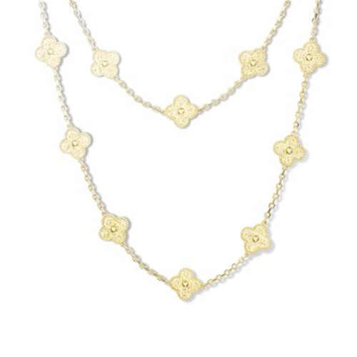 Vintage van cleef faux Alhambra or jaune long collier