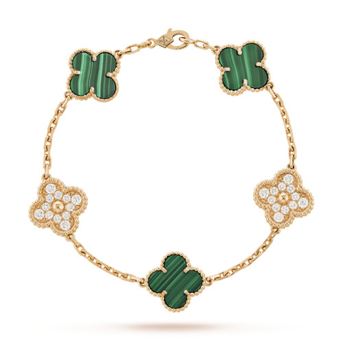 Vintage van cleef copie Alhambra or rose bracelet diamants ronds malachite