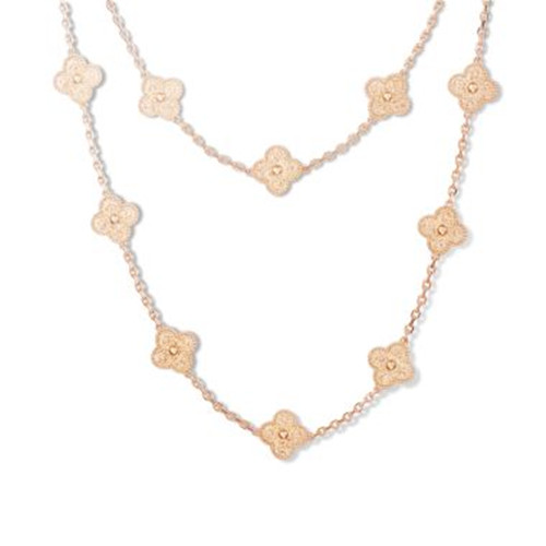 Vintage van cleef faux Alhambra or rose long collier