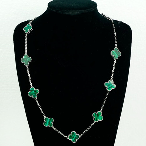 Vintage van cleef replique Alhambra or blanc Collier malachite