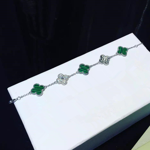 Vintage van cleef replique Alhambra or blanc bracelet diamants ronds malachite