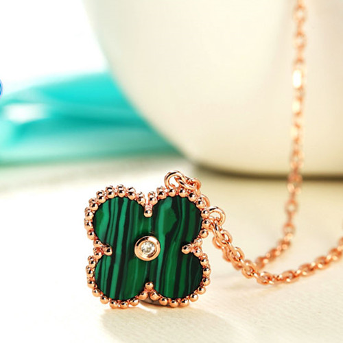 Vintage van cleef replique Alhambra or rose pendentif diamant rond malachite
