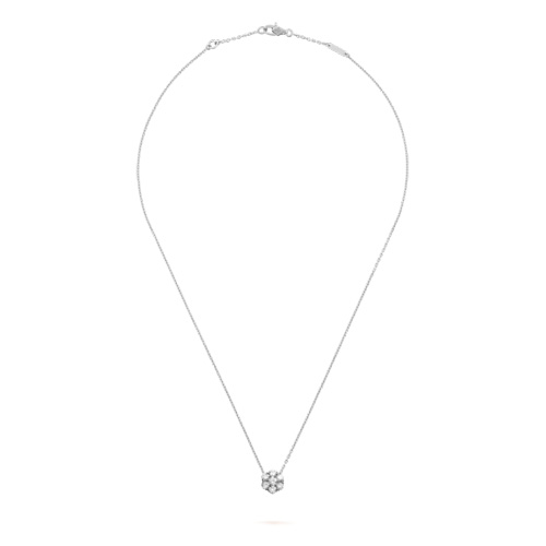 Fleurette replica Van Cleef white gold pendant Round diamonds