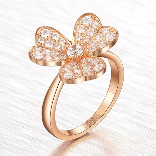 Frivole fake Van Cleef & Arpels pink gold Ring Round diamonds