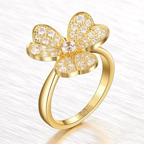 Frivole imitation Van Cleef & Arpels yellow gold Ring Round diamonds