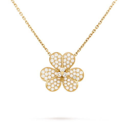Frivole imitation Van Cleef yellow gold pendant Round diamonds