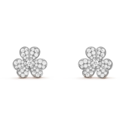 Frivole replica van cleef white gold earrings Round diamonds