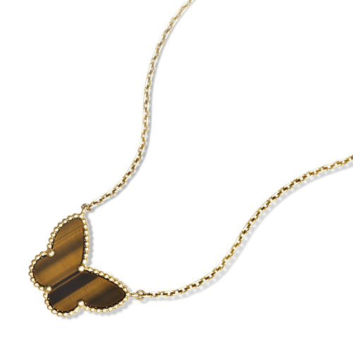 Lucky replica Van Cleef & Arpels Alhambra yellow gold butterfly pendant tiger's eye