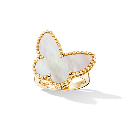 Lucky imitation Van Cleef & Arpels Alhambra Butterfly yellow gold Ring white mother-of-pearl - Click Image to Close