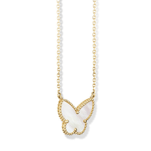 Lucky replica Van Cleef & Arpels Alhambra yellow gold butterfly pendant white mother-of-pearl