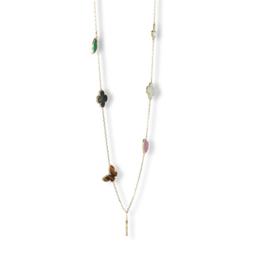 Lucky replica Van Cleef & Arpels Alhambra necklace yellow gold carnelian tiger's eye white and gray mother-of-pearl