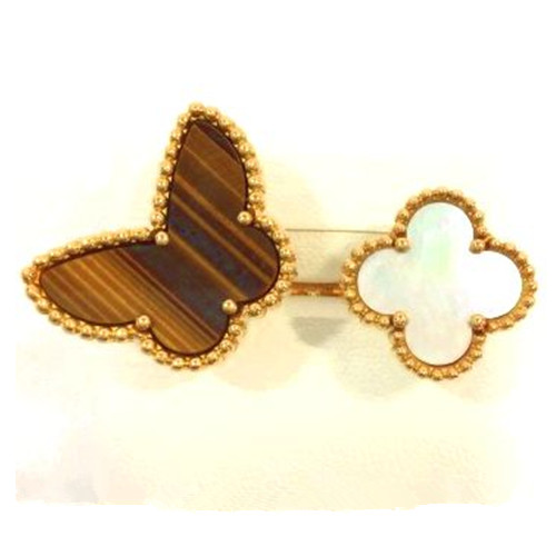 Lucky replica Van Alhambra Butterfly Between the Finger yellow gold Ring white mother-of-pearl and tiger's eye - Click Image to Close