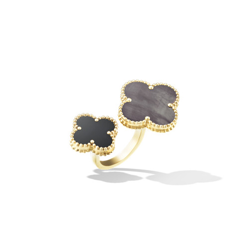 Magic fake Van Cleef & Arpels Alhambra Between the Finger yellow gold Ring gray mother-of-pearl and onyx - Click Image to Close