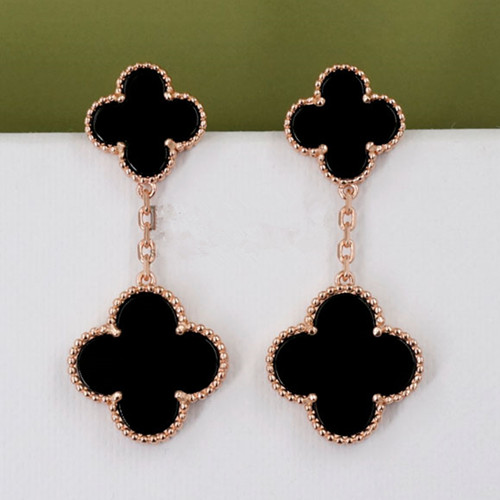 Magic van cleef replica Alhambra pink gold earrings 4 onyx