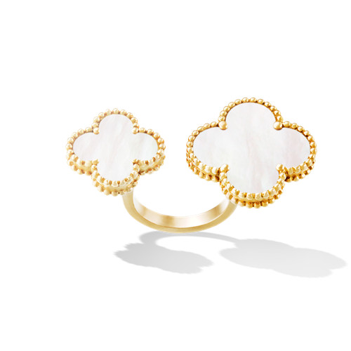 Magic replica Van Cleef & Arpels Alhambra Between the Finger yellow gold Ring white mother-of-pearl