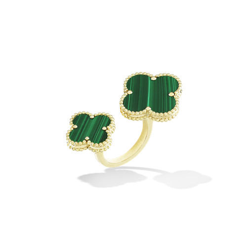 Magic imitation Van Cleef & Arpels Alhambra Between the Finger yellow gold Ring malachite