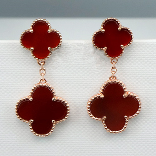 Magic van cleef copy Alhambra pink gold earrings carnelian