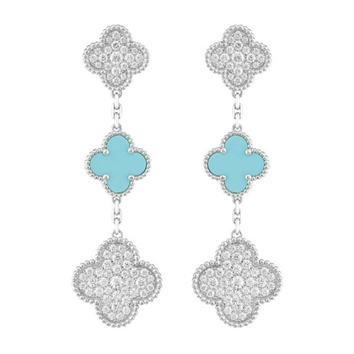 Magic van cleef replica Alhambra white gold earrings