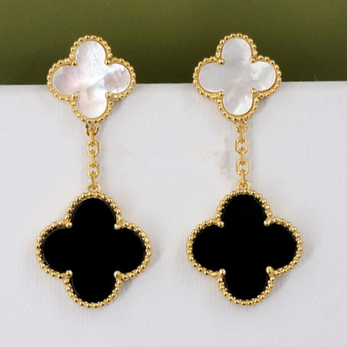 Magic van cleef replica Alhambra yellow gold earrings onyx and white mother-of-pearl