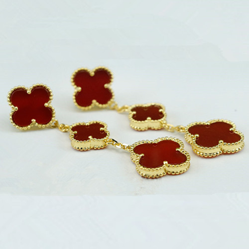 Magic van cleef fake Alhambra yellow gold earrings carnelian
