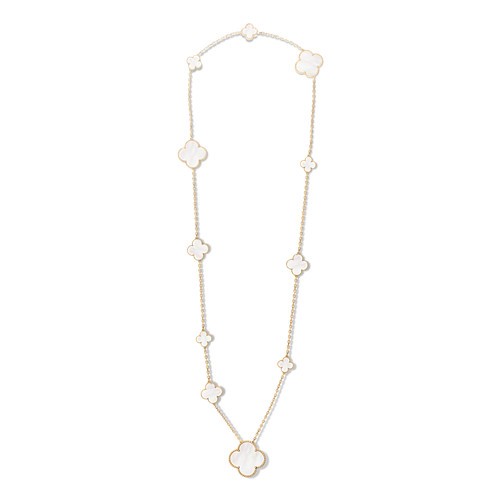 Magic imitation Van Cleef & Arpels Alhambra long necklace yellow gold 11 motifs white mother-of-pearl