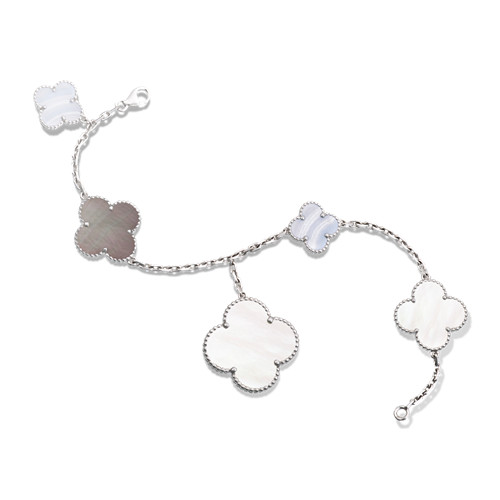 Magic copy Van Cleef & Arpels Alhambra bracelet white gold chalcedony white and gray mother-of-pearl