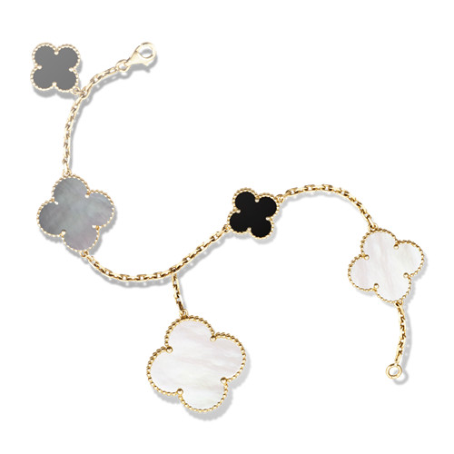 Magic replica Van Cleef & Arpels Alhambra bracelet yellow gold white and gray mother-of-pearl onyx