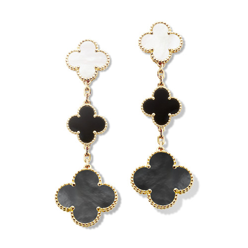 Magic replica Van Cleef & Arpels Alhambra earrings yellow gold onyx white and gray mother-of-pearl