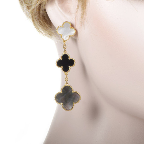 Magic replica Van Cleef & Arpels Alhambra earrings yellow gold onyx white and gray mother-of-pearl - Click Image to Close
