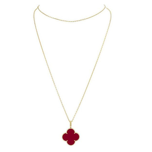 Magic imitation Van Cleef & Arpels Alhambra long necklace yellow gold 1 motif carnelian