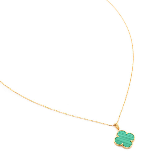 Magic fake Van Cleef & Arpels Alhambra long necklace yellow gold 1 motif malachite