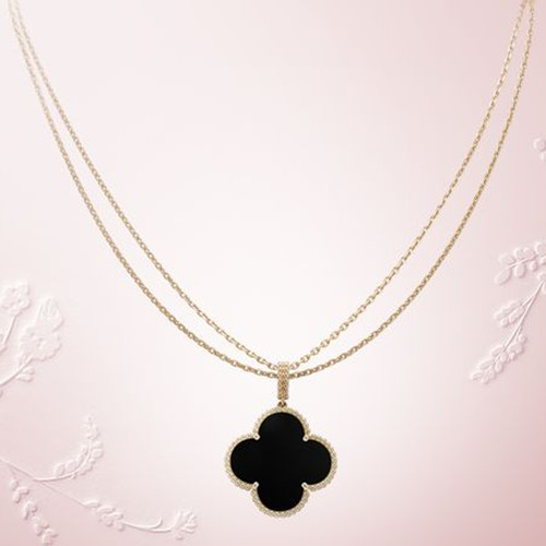 Magic replica Van Cleef & Arpels Alhambra long necklace yellow gold 1 motif onyx