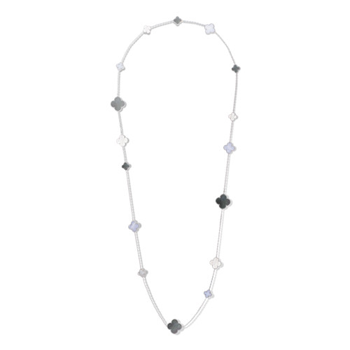 Magic replica Van Cleef & Arpels Alhambra long necklace white gold chalcedony white and gray mother-of-pearl