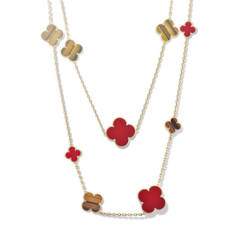 Magic replica Van Cleef & Arpels Alhambra long necklace yellow gold carnelian tiger's eye