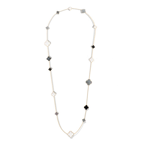 Magic fake Van Cleef & Arpels Alhambra long necklace yellow gold onyx white and gray mother-of-pearl - Click Image to Close