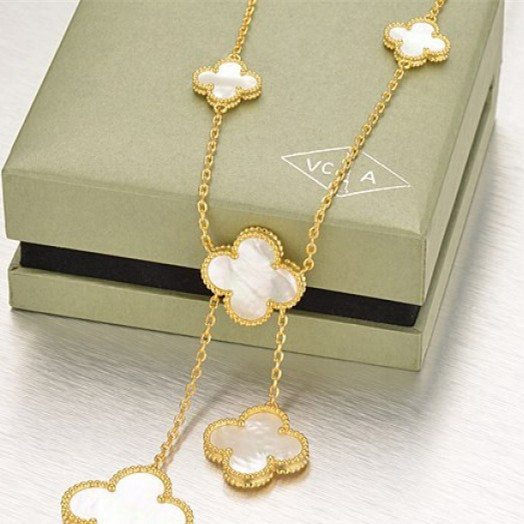 Magic imitation Van Cleef & Arpels Alhambra necklace yellow gold 6 motif white mother-of-pearl