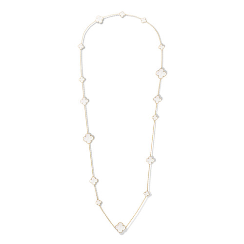 Magic replica Van Cleef & Arpels Alhambra long necklace yellow gold 16 motifs white mother-of-pearl