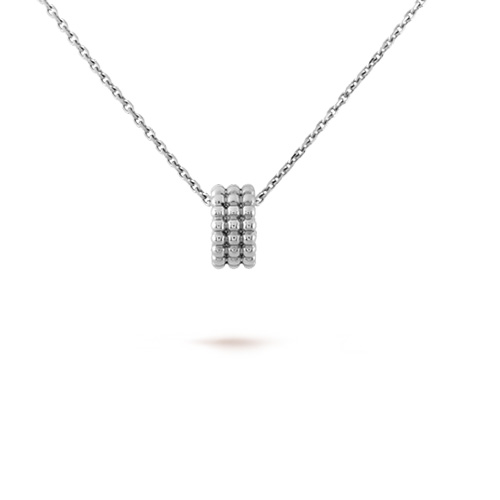 Perlée imitation Van Cleef white gold pendant 3 rows of diamond design