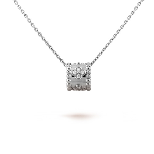 Perlée fake Van Cleef white gold pendant Clover lucky pattern diamonds