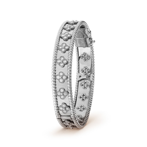 Perlée fake van cleef white gold bracelet Round diamonds