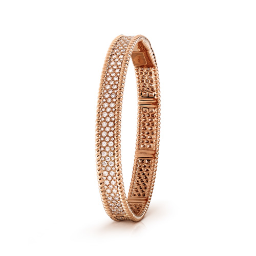 Perlée imitation Van Cleef & Arpels pink gold bracelet Inlaid round diamonds