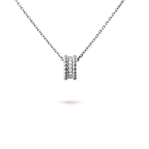 Perlée fake Van Cleef white gold pendant 3 rows of beads design