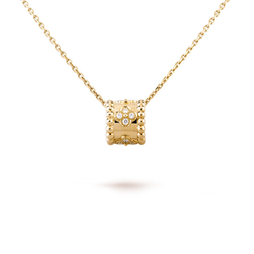 Perlée imitation Van Cleef yellow gold pendant Clover lucky pattern diamonds