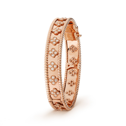 Perlée imitation van cleef pink gold bracelet Round diamonds